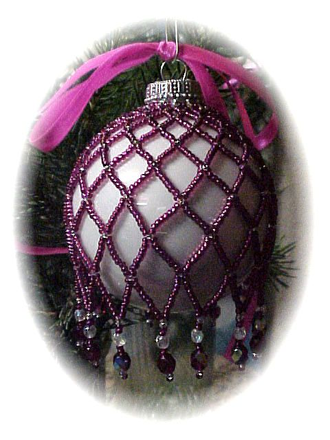 Zig Zag Cranberry Christmas Ornament