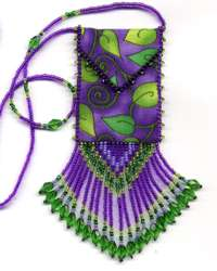 Purple Leaves Amulet Bag Pattern & Kit