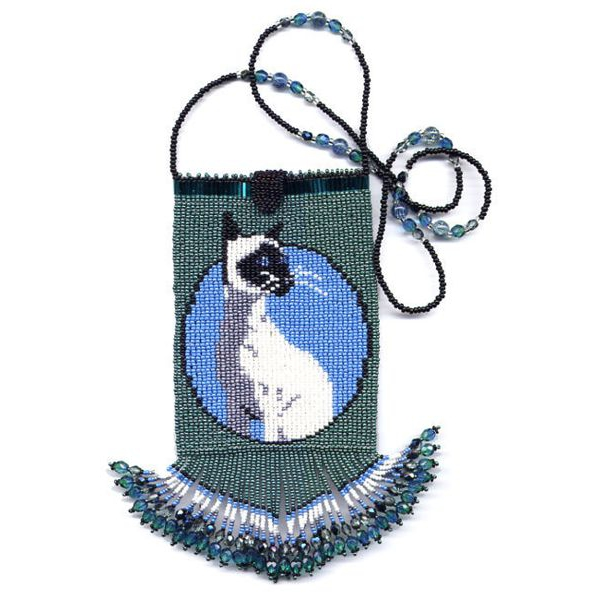 Siamese Cat Fringe Bag with Strap