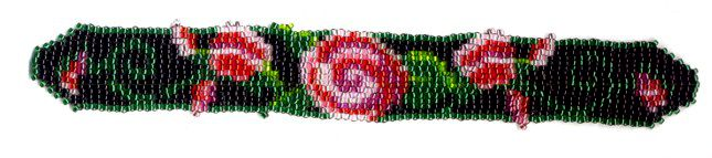 Black Rose Bud Weave Bracelet Pattern and Kit
