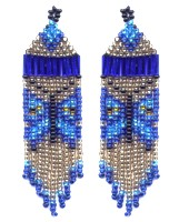 Blue Leaf Butterfly Fringe Earring