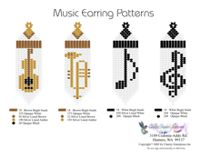 Music Fringe Earrings Bead Graph