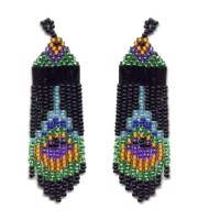 Beaded Peacock Feather Fringe Earring