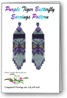 Purple Tiger Butterfly Fringe Earring