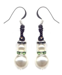 Snowman Dangle Earrings in Green Patterns & Kit