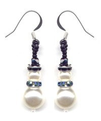 Snowman Dangle Earrings in Irry Blue Patterns & Kit