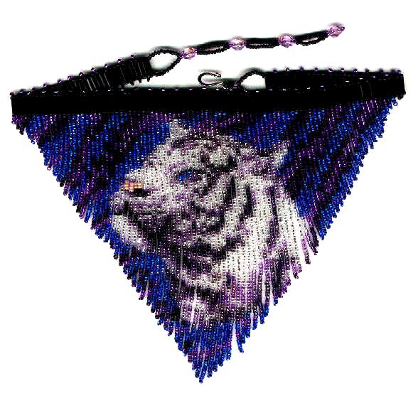 Purple Tiger Fringe Necklace