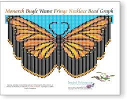 Monarch Bugle Weave Fringe Necklace