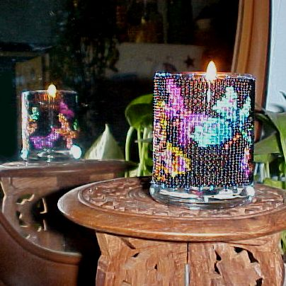 Beaded Butterfly on Black Candle Holder!