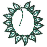 15 Teal Leaf Russian Necklace - Click Image to Close