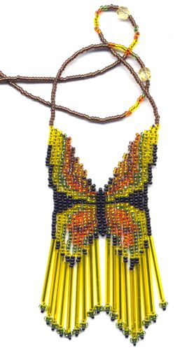Bugle Yellow Butterfly Necklace