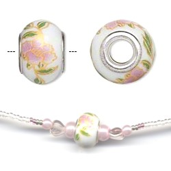 Ceramic Bead Necklace Pink