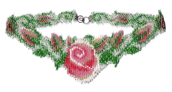 Wedding Rose Weave Necklace Pattern and Kit