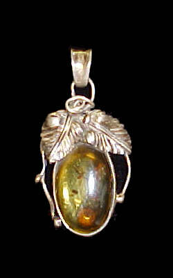 Amber Pendant #6 set in Sterling Silver