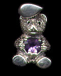 Teddy Bear with Stone Pendant Sterling Silver