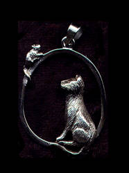 Cat with Mouse Pendant Sterling Silver