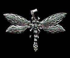 Dragonfly Pendant with Wiggly Wings Sterling Silver