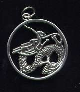 Dragon Circle Pendant Sterling Silver