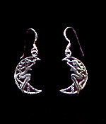 Moon Lady Sterling Silver French Hook Earrings