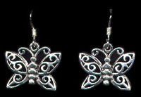 Butterfly Sterling Silver French Hook Earrings