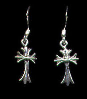 Celtic Cross Sterling Silver French Hook Earrings