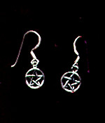 Pentagram Sterling Silver French Hook Earrings