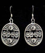 Large Ying Yang Sterling Silver French Hook Earrings