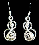 Ying Yang Snake Sterling Silver French Hook Earrings