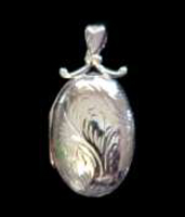 Large Oval Locket Pendant Sterling Silver